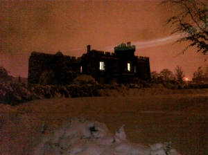 Stone Castle in the snow