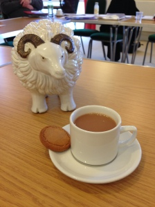 Mabel has a cuppa