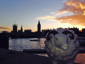 Mabel with the Houses of Parliament