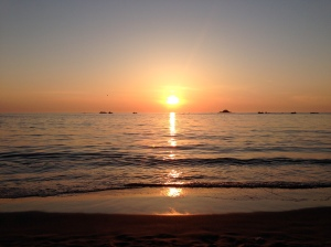 Sunset at Cobo Bay