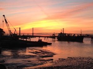 Sunset over Dartford crossing