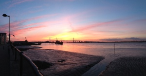 Sunset panorama over Dartford crossing
