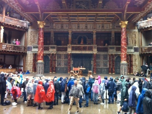 Rain at the Globe theatre