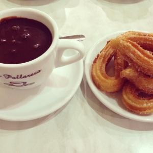 churros y chocolate en Barcelona