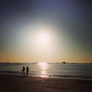 sunset, Cobo Bay in Guernsey