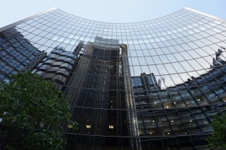 Lloyd's building reflected in Willis building, City of London
