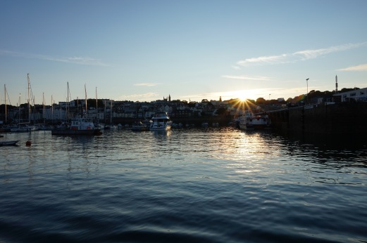 Sunset over harbour in Guernsey
